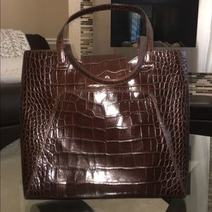 Monsac Croco embossed Leather tote
